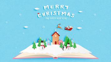 Vrolijke Kerstmis en gelukkig Nieuwjaar wenskaart in papier stijl knippen. Vector illustratie Kerstviering achtergrond.