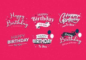Gelukkige verjaardag Typografie Vol 4 Vector