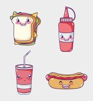 Fast food collectie kawaii cartoons vector