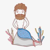 Zeemeermin man cartoon vector