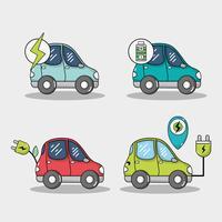 stel de accu van de elektrische auto en de technologie voor het opladen van energie in vector