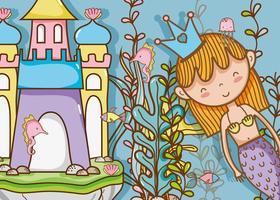 Kleine zeemeermin kunst cartoon vector