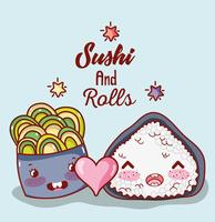 Sushi en rollen leuke kawaii cartoons