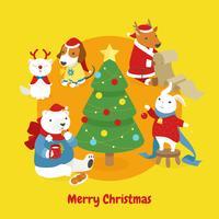 Schattige dieren versieren de kerstboom.