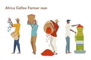 Mannelijke koffie boer tekenset. vector