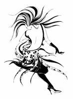 Dansend meisje. Danser. Het meisje beweegt zich in een snel ritme van de dans. Stijlvolle graphics. Cha cha cha. Stijldansen. Latijnse dans. Vector.