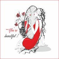 Jij bent mooi. Inscriptie. Ansichtkaart. Het meisje in de rode jurk bij de spiegel. Vector