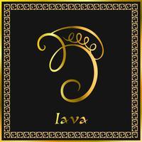 Karuna Reiki. Energie genezing. Alternatief medicijn. Iava-symbool. Spirituele oefening. Esoteric. Gouden. Vector