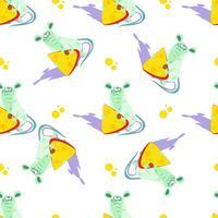 Muis met kaas. Naadloos patroon. Cartoon-stijl. Vector