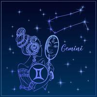 Sterrenbeeld Tweelingen een mooi meisje. Het sterrenbeeld Tweelingen. Nachtelijke hemel. Horoscoop. Astrologie. Vector.
