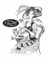 Het meisje met de hoed en de vintage jurk. Lady drinkt thee. Mooie vrouw. Charm. Inscriptie. Graphics. Zwart wit. Vector