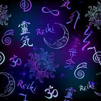 Naadloos patroon met Reiki-energiesymbolen. Esotericus. Energie genezing. Alternatief medicijn. Vector
