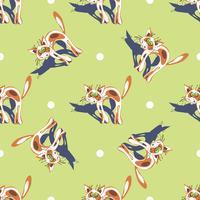 Rode kat. Naadloos patroon. Afdrukken. Grappige cartoon kitten. Groene polka dots achtergrond. Vector.