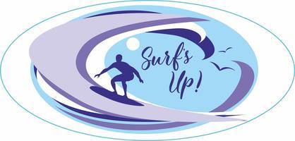 Surf is op. Surfen. Belettering. Het is tijd om te rusten en te reizen. Zeegezicht. Golf. Meeuwen. Vector illustratie.