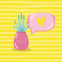 Punchy pastel ananas vector