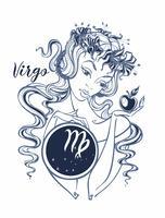 Sterrenbeeld Maagd, een mooi meisje. Horoscoop. Astrologie. Vector.