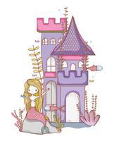 Zeemeermin op kasteel cute cartoon vector