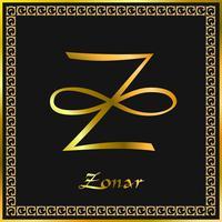 Karuna Reiki. Energie genezing. Alternatief medicijn. Zonar-symbool. Spirituele oefening. Esoteric. Goud. Vector
