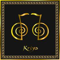 Karuna Reiki. Energie genezing. Alternatief medicijn. Kriya-symbool. Spirituele oefening. Esoteric. Gouden. Vector