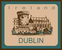 Kasteel van Dublin. Schetsen. Dublin. Ierland. Voor de reis- en toeristenindustrie. Reclame ontwerp. Vector illustratie.