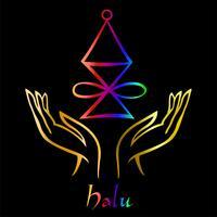 Karuna Reiki. Energie genezing. Alternatief medicijn. Halu-symbool. Spirituele oefening. Esoterische. Open palm. Regenboog kleur. Vector