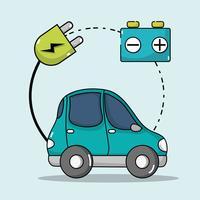 elektrische auto met stroomkabel om de batterij op te laden vector