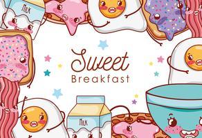 Zoet ontbijt kawaii leuke tekenfilms vector