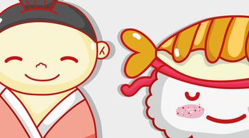 Japanse en sushi schattige Kawaii cartoon