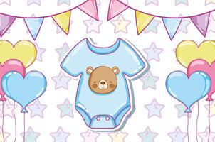 Schattige babykleding en ballonnen vector