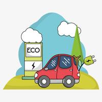 elektrische auto met stroomkabel en oplaadstation voor energie vector