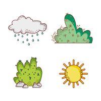 Natuurelementen doodles cartoons