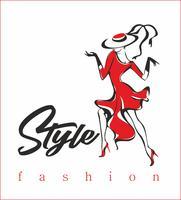 Model. Modieuze stijl. High fashion. Het meisje in de rode jurk. Vector.