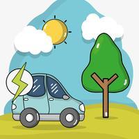 elektrische auto-energie met batterijlading vector