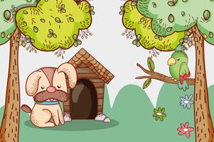 Hond in het park doodle cartoon vector