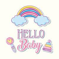 Hallo baby cartoons kaart vector