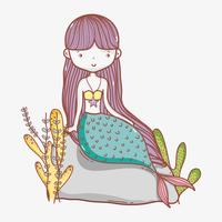 Kleine zeemeermin schattige cartoon vector