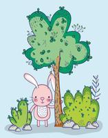 Bunny in bos doodle cartoon vector