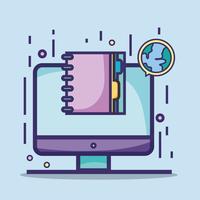 schermcomputer met globale planeet en notitieboekje