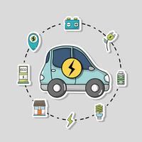 elektrische auto met oplaadbare batterijtechnologie vector