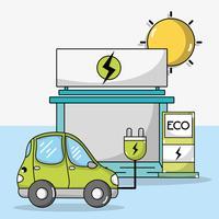 elektrische auto met stroomkabel en oplaadstation vector