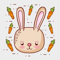 Schattig konijntje met wortels doodle tekenfilms vector