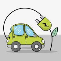 elektrische auto met ecologie stroomkabeltechnologie vector