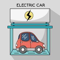 elektrische auto met oplaadstation vector