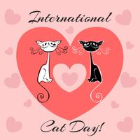 Internationale dag van katten. Kerstkaart. Witte en zwarte katten. Cartoon-stijl. Grappige grappige kittens. Cat's footprints. Hart. Vector illustratie.
