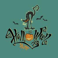 Halloween. Een leuke kaart voor Allerheiligen. Magische magische letters. Grappige cartoon zwarte kat monster. Knuppel. Pompoen. Groene achtergrond Vector.