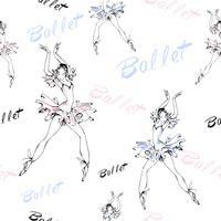 Naadloos patroon. Ballet. Dansende ballerina's. Inscriptie. Vector illustratie.