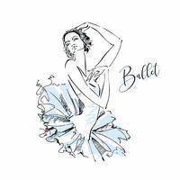Ballerina.Odette. Witte Zwaan. Ballet. Dans. Vector illustratie.