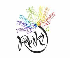 Reiki-energie. Logotype. Genezende energie. Bloem van de regenboog uit de handpalmen van de mens. Alternatief medicijn. Spirituele oefening. Vector.