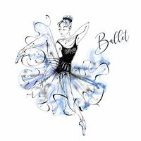 Ballerina. Ballet. Wilis. Dansend meisje op Pointe-schoenen. Waterverf. Vector