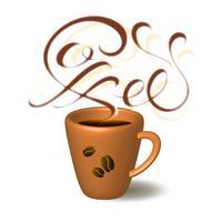 Mok koffie. Belettering. Koffiepauze. Vector illustratie